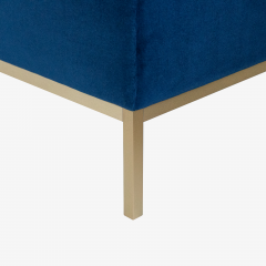 Florence Knoll Florence Knoll Lounge Chairs in Navy Velvet Brushed Brass Pair - 1625096