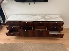 Florence Knoll Florence Knoll Rosewood and Calcutta Marble Credenza or Dresser Italy 1960s - 1672162