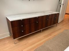 Florence Knoll Florence Knoll Rosewood and Calcutta Marble Credenza or Dresser Italy 1960s - 1672170