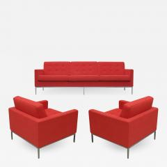 Florence Knoll Florence Knoll for Knoll Sofa and Matching Lounge Chairs Living Room Set in Red - 1971017