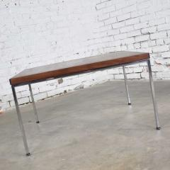 Florence Knoll MCM chrome walnut end or coffee table in the style of florence knoll - 1682235