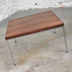 Florence Knoll MCM chrome walnut end or coffee table in the style of florence knoll - 1682241