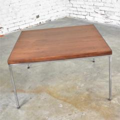 Florence Knoll MCM chrome walnut end or coffee table in the style of florence knoll - 1682245