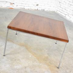 Florence Knoll MCM chrome walnut end or coffee table in the style of florence knoll - 1682265