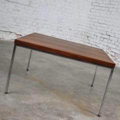 Florence Knoll MCM chrome walnut end or coffee table in the style of florence knoll - 1682272
