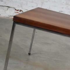 Florence Knoll MCM chrome walnut end or coffee table in the style of florence knoll - 1682278