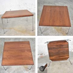 Florence Knoll MCM chrome walnut end or coffee table in the style of florence knoll - 1682304