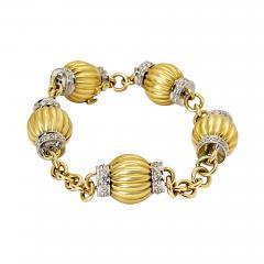 Fluted Bead and Diamond Bracelet - 2089383