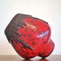 Fohr Keramik RED FOHR KERAMIK MUSHROOM VASE Nr 351 24 WITH BLACK VOLCANIC LAVA - 2127817