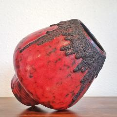 Fohr Keramik RED FOHR KERAMIK MUSHROOM VASE Nr 351 24 WITH BLACK VOLCANIC LAVA - 2127818