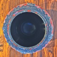 Fohr Keramik RED FOHR KERAMIK MUSHROOM VASE Nr 351 24 WITH BLACK VOLCANIC LAVA - 2127819