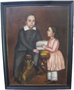 Folk Art Portrait of Children and Dog - 377504