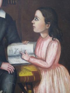 Folk Art Portrait of Children and Dog - 377506