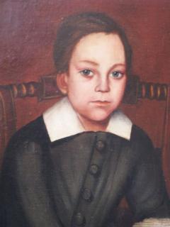 Folk Art Portrait of Children and Dog - 377507