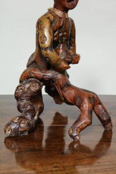 Folk Art Root Carving Man and Dog - 664997