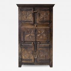 Folk art 19th century travail dart populaire cabinet from Bretagne France - 2053130