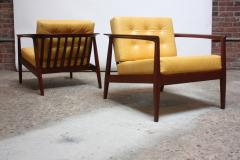 Folke Olhsson Swedish Modern Leather and Teak Lounge Chairs by Folke Ohlsson for Dux - 891976