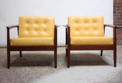 Folke Olhsson Swedish Modern Leather and Teak Lounge Chairs by Folke Ohlsson for Dux - 891977