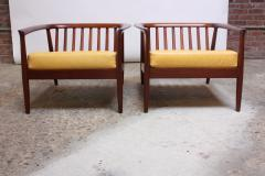 Folke Olhsson Swedish Modern Leather and Teak Lounge Chairs by Folke Ohlsson for Dux - 891982