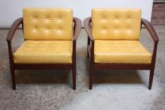 Folke Olhsson Swedish Modern Leather and Teak Lounge Chairs by Folke Ohlsson for Dux - 891983