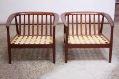 Folke Olhsson Swedish Modern Leather and Teak Lounge Chairs by Folke Ohlsson for Dux - 891984