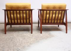 Folke Olhsson Swedish Modern Leather and Teak Lounge Chairs by Folke Ohlsson for Dux - 891996