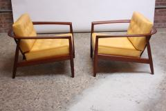 Folke Olhsson Swedish Modern Leather and Teak Lounge Chairs by Folke Ohlsson for Dux - 891997