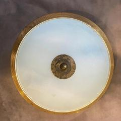 Fontana Arte 1950s Fontana Arte Attributed Brass and Glass Round Ceiling Light - 2132617