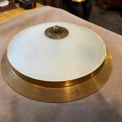 Fontana Arte 1950s Fontana Arte Attributed Brass and Glass Round Ceiling Light - 2132618
