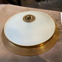 Fontana Arte 1950s Fontana Arte Attributed Brass and Glass Round Ceiling Light - 2132620