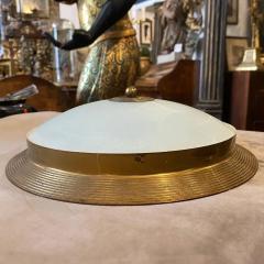 Fontana Arte 1950s Fontana Arte Attributed Brass and Glass Round Ceiling Light - 2132621