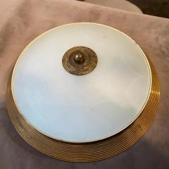 Fontana Arte 1950s Fontana Arte Attributed Brass and Glass Round Ceiling Light - 2132622