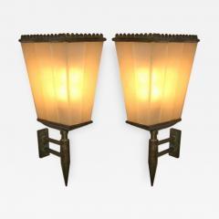 Fontana Arte A Pair of Rare Lantern Shaped Wall Sconces by Fontana Arte