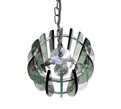 Fontana Arte Chandelier In Chrome And Glass In The Style of Fontana Arte 1970s - 1177512