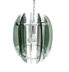 Fontana Arte Chandelier In Chrome And Glass In The Style of Fontana Arte 1970s - 1177514