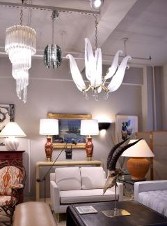 Fontana Arte Chandelier In Chrome And Glass In The Style of Fontana Arte 1970s - 1178029