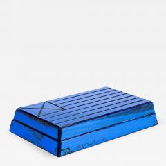 Fontana Arte Cigare box in mirrored blue glass and wood by Fontana Arte circa 1940 - 963314