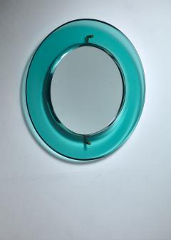 Fontana Arte Early Luigi Fontana for Fontanit glass mirror in green blue Italy 1950s - 1085322