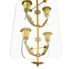 Fontana Arte Fontana Arte 4 Light Pendant Brass Chandelier 1940s - 987237