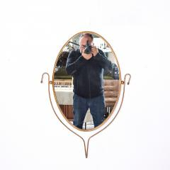 Fontana Arte Italian Regency Sculpted Modern Brass Oval Wall Mirror Style Fontana Arte 1950s - 1640365