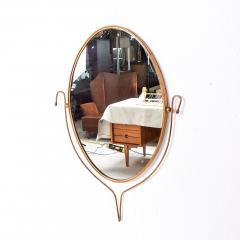 Fontana Arte Italian Regency Sculpted Modern Brass Oval Wall Mirror Style Fontana Arte 1950s - 1640367