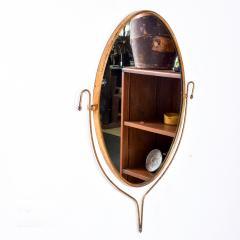 Fontana Arte Italian Regency Sculpted Modern Brass Oval Wall Mirror Style Fontana Arte 1950s - 1640371