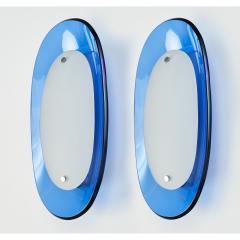 Fontana Arte Pair of Fontana Arte Blue Glass Oval Sconces 1960s - 1335972