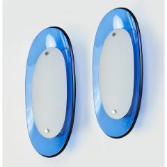 Fontana Arte Pair of Fontana Arte Blue Glass Oval Sconces 1960s - 1335974
