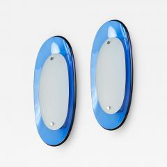 Fontana Arte Pair of Fontana Arte Blue Glass Oval Sconces 1960s - 1344632