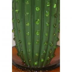 Formia Murano 1990s Vintage Italian Green Murano Glass Tall Cactus Plant with Pink Flower - 1189228