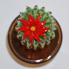 Formia Murano 1990s Vintage Italian Green Murano Glass Tall Cactus Plant with Red Flower - 1123379