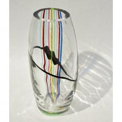 Formia Murano Formia 1970 Italian Tall Yellow Green Red Blue Crystal Murano Glass Pop Art Vase - 1088192