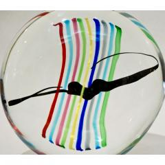 Formia Murano Formia 1970s Italian Yellow Red Blue Crystal Murano Glass Modern Round Sculpture - 1093413