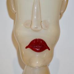 Formia Murano Formia 1980s Modern Italian Comic Ivory Glass Head Sculpture - 760376